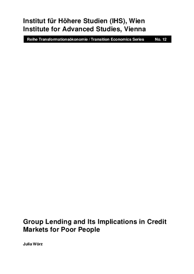 Group Lending and Its Implications in Credit Markets for Poor People