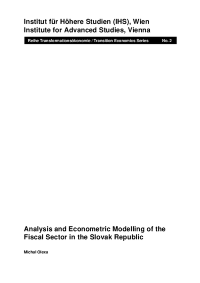 Analysis and Econometric Modelling of the Fiscal Sector in the Slovak Republic