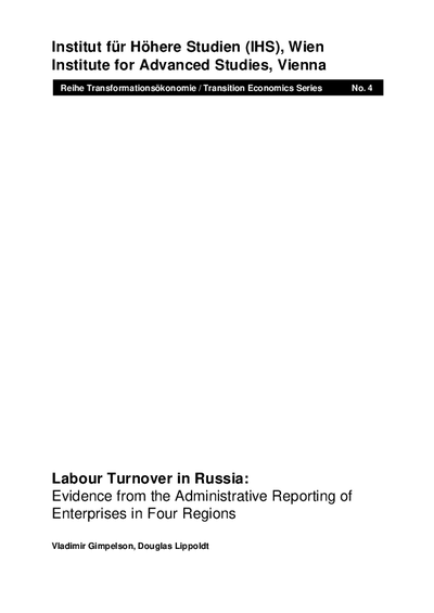 Labour Turnover in Russia: Evidence from the Administrative Reporting of Enterprises in Four Regions
