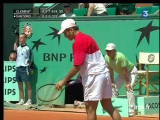 Premier tour à Roland Garros : Fin de match Santoro contre Clement, la guerre des nerfs