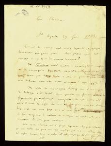 """Lettera ; firma autografa ; Incipit: Eccomi di nuovo nel mio deserto, e sgraziatamente per pochi giorni... ; Giuseppe Verdi scrive da St. Agata """"il mio deserto"""