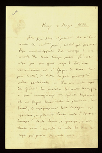 Lettera ; firma autografa ; Incipit: Non posso dire il piacere che mi ha recato la carissima sua... ; Giuseppe Verdi scrive a Clara Maffei del suo dispiacere p