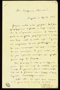 Lettera ; firma autografa ; Incipit: Grazie mila volte grazie del suo graziosissimo biglietto… ; Giuseppe Verdi ringrazi Clara Maffei per il biglietto inviatog