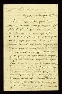 Lettera ; firma autografa ; Incipit: Sono da dieci o dodici giorni tornato da Napoli, e le avrei scritto subito… ; Giuseppe Verdi scrive da Busseto, al suo rit