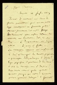 Lettera ; firma autografa ; Incipit: Invece di cantare un inno di gloria parrebbemi più conveniente oggi innalzare un lamento… ; Giuseppe Verdi scrive della su