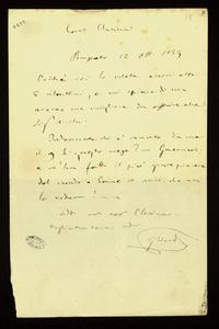 Lettera ; firma autografa ; Incipit: Poiché voi lo volete eccovi altri 6 ritrattini… ; Giuseppe Verdi invia alla Maffei altri sei suoi ritratti alla Maffei che