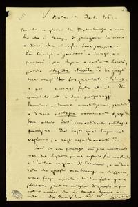 Lettera ; firma autografa ; Incipit: Parto a giorni da Pietroburgo e non ho che il tempo di stringervi la mano… ; Giuseppe Verdi scrive alla contessa da Pietro