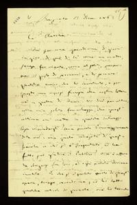 Lettera ; firma autografa ; Incipit: Fui per una quindicina di giorni in giro di qua di là come un matto… ; Giuseppe Verdi scrive alla contessa riguardo a Fran