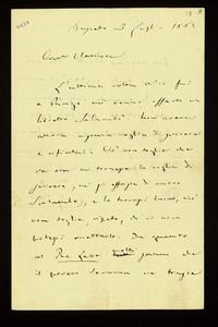 Lettera ; firma autografa ; Incipit: L'ultima volta ch'io fui a Parigi mi venne offerto un libretto Salambò.… ; Giuseppe Verdi scrive di aver rifiutato a Parig