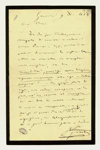 Lettera ; firma autografa ; Incipit: Fin da ieri l'altro, aveva pensato di venire a vedere il povero Piave… ; Giuseppe Verdi informa la contessa che si recherà