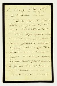Lettera ; firma autografa ; Incipit: Non ho ricevuto la vostra lettera, ma solo due biglietti uno da Piave e uno da Ricordi… ; Giuseppe Verdi scrive di aver sa