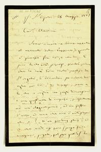 Lettera ; firma autografa ; Incipit: Sono ancora a bocca aperta al racconto della Peppina di quanto è successo fra voi, e con voi… ; Giuseppe Verdi scrive a Cl