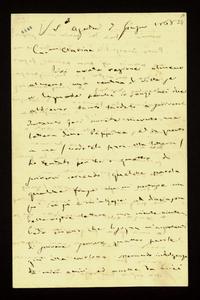 Lettera ; con busta, firma autografa ; Incipit: Voi avete ragione almeno almeno una ventina di volte se vi lagnate perché io… ; Giuseppe Verdi si scusa ripetut