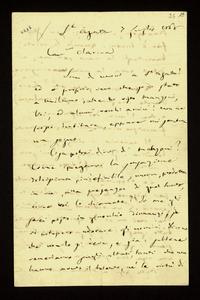 Lettera ; con busta, firma autografa ; Incipit: Aggiungo anch'io una parola a quella che li ha scritto il mio Verdi… ; Giuseppina Strepponi scrive a Clara Maff