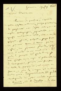 Lettera ; con busta, firma autografa ; Incipit: Prima di partire, rispondo alla vostra ultima, senza pretendere di seguirvi nei vostri voli, … ; Giuseppe Verdi