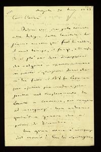 Lettera ; con busta, firma autografa ; Incipit: Felice voi che siete tornata alle delizie della Capitale. Noi siamo ancora qui fra la nebbia… ; Giuseppe Verdi