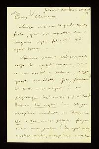 Lettera ; firma autografa ; Incipit: Senza che ve lo gridi tanto forte, già voi sapete che vi auguro ogni felicità ed ogni bene… ; Giuseppe Verdi scrive che no