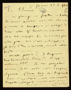 Lettera ; firma autografa ; Incipit: Vi stringo in fretta in fretta le mani perché non ho che un minuto di tempo… ; Giuseppe Verdi prega la Maffei di dire alla