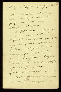 Lettera ; firma autografa ; Incipit: Non scrivermi più di quelle lettere - cioè, non ammalarti più !… ; Giuseppina Strepponi scrive a Clara Maffei manifestando