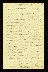 Lettera ; firma autografa ; Incipit: Vi ringrazio della Perseveranza che m'avete mandata, e m'ha interessato assaissimo l'articolo su Manzoni… ; Giuseppe Verdi