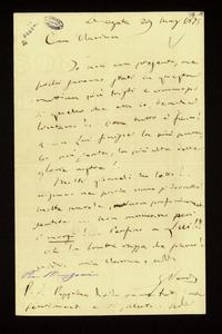 Lettera ; firma autografa ; Incipit: Io non era presente, ma pochi saranno stati in questa mattina più tristi e commossi di quello che era io… ; Giuseppe Verdi