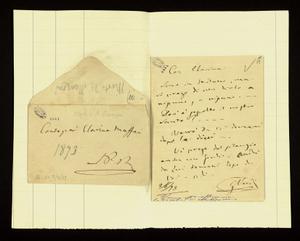 Lettera ; con busta, firma autografa ; Sulla c.1r due righe di Giuseppina Strepponi Verdi. ; Giuseppina Strepponi scrive alla Maffei che andrà anche lei a visi
