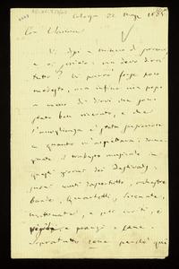 Lettera ; con busta, firma autografa ; Incipit: Vi dissi a Milano di scrivervi, e vi scrivo: ma devo dirvi tutto ? Vi parrò forse poco modesto… ; Giuseppe Verd