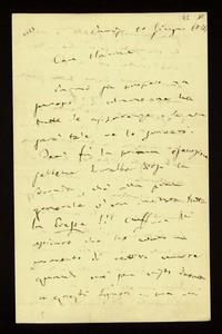 Lettera con allegato ; firma autografa ; Incipit: Parmi sia proprio un successo ! Almeno ne ha tutte le apparenze… ; Giuseppe Verdi scrive a Clara Maffei che l