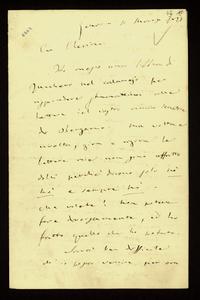 Lettera ; firma autografa ; Incipit: Ho messo una libbra di zucchero nel calamajo per rispondere stamattina alle lettere del vostro amico senatore di Bergamo…