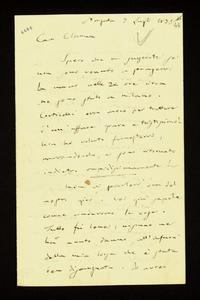 Lettera ; firma autografa ; Incipit: Spero che mi scuserete se non sono venuto a stringervi la mano nelle 24 ore circa che sono stato a Milano… ; Giuseppe Verd