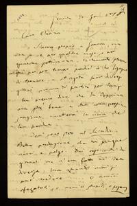 Lettera ; con busta, firma autografa ; Incipit: Siamo proprio a Genova, ma non so se per qualche mese, o per qualche settimana… ; Giuseppe Verdi scrive a Clara