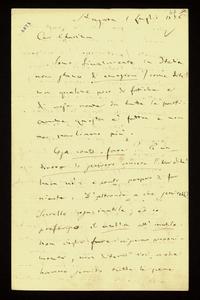 Lettera ; con busta, firma autografa ; Incipit: Sono finalmente in Italia non stanco di emozioni (come dite) con qualche poco di fatica e di noie avute da tutt
