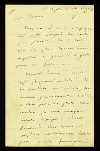 Lettera ; con busta, firma autografa ; Incipit: Peppina ed io vi ringraziamo per i vostri auguri che certo sono sinceri… ; Giuseppe Verdi esprime il suo dispia