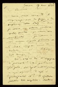 Lettera ; con busta, firma autografa ; Incipit: Come come come !!! Si rimpiange ora la forza e la passione della Stolz !!!… ; Giuseppe Verdi scrive a Clara Maf
