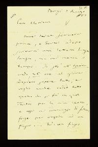Lettera ; con busta, firma autografa ; Incipit: Avrei dovuto scrivervi prima e dovrei adesso scrivervi una lettera lunga lunga, ma mi manca il tempo… ; Giusepp