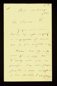 Lettera ; firma autografa ; Incipit: Grazie mia cara Clarina dei vostri auguri e ringraziate gli amici che si sono ricordati di me… ; Giuseppe Verdi ringrazia