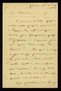 Lettera ; firma autografa ; Incipit: E prima di tutto grazie mille volte grazie per me e Peppina dei vostri auguri… ; Giuseppe Verdi ringrazia la contessa per