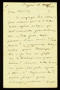 Lettera ; con busta, firma autografa ; Incipit: Vi ringrazio due volte; per avermi prima di tutto date vostre notizie; poi dell'articoletto sulla Waldman… ; Gi