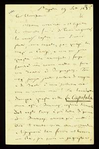 Lettera ; firma autografa ; Incipit: Appena arrivato a St. Agata ho ricevuta (m'è di buon augurio) la cara vostra… ; Giuseppe Verdi descrive alla contessa il s