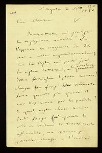 Lettera ; con busta, firma autografa ; Incipit: Inaspettata mi giunge la tristissima novella ! la Peppina la conosceva da 24 ore ma volle nascondermela;… ; Giu