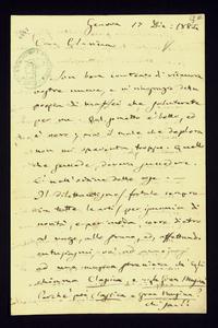 Lettera ; firma autografa ; Incipit: Son ben contento di ricevere vostre nuove, e vi ringrazio della poesia di Maffei che saluterete per me… ; Giuseppe Verdi r