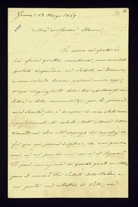 Lettera ; con busta, firma autografa ; Incipit: P. S. Per quanto non spazio vi sia basta per stringervi la mano… ; Giuseppe Verdi in poche righe saluta la cont