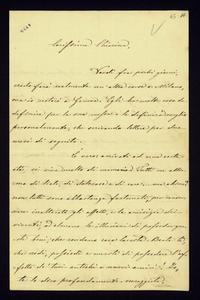 Lettera ; firma autografa ; Incipit: Verdi fra pochi giorni, credo farà realmente un'altra corsa a Milano, ma io resterò a Genova… ; Giuseppina Verdi Strepponi