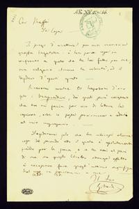 Lettera ; firma autografa ; Incipit: Vi prego di accettare per mia memoria questa bagatella: è ben poca cosa in confronto a quello che tu hai fatto per me… ; G