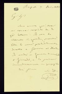 Lettera ; con busta, firma autografa ; Incipit: Sono ancora qui, ove mi venne respinta la di Lei lettera… ; Giuseppe Verdi scrive al pittore Giacomo Mantegazza