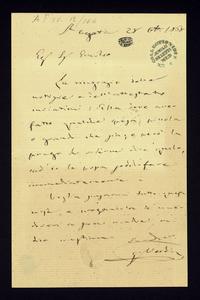 Lettera ; con busta, firma autografa ; Incipit: La ringrazio delle notizie e dell'attestato inviatimi: elle deve aver fatto qualche spesa… ; Giuseppe Verdi scr