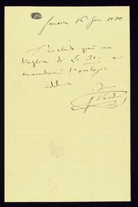 Lettera ; firma autografa ; Incipit: T'accludo qui un vaglia di Lit 30… ; Giuseppe Verdi manda un vaglia di trenta lire per l'acquisto e invio di un orologio ;