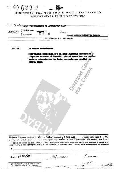 Radar Film giornale di attualità N. 66                                  Italia: Le nostre inchieste: Nell'Unione Sovietica c'è un solo giornale umoristico. Sfogliamo insieme  il Krokodil che ci svela con una satira cauta e moderata che in fondo non esistono paradisi terrestri.