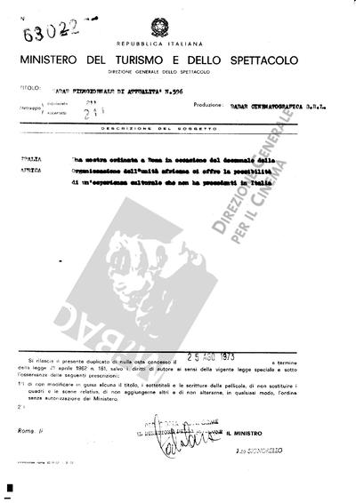 Radar Film giornale di attualità N. 596                                  Italia: Una mostra ordinata a Roma in occasione del decennale della Organizzazione dell'unità africana ci offre la possibilità di un esperienza culturale che non ha precedenti in Italia