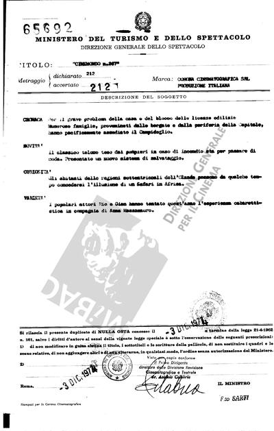 Cinemondo N. 267                                  Cronaca: Per il grave problema della casa e del blocco delle licenze edilizie, numerose famiglie, provenienti dalle borgate e dalla periferia della Capitale, hanno pacificamente assediato il Campidoglio.